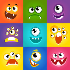 Monster expressions. Funny cartoon faces vector
