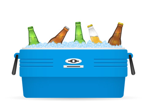 Ice cooler or beer in box vector on white