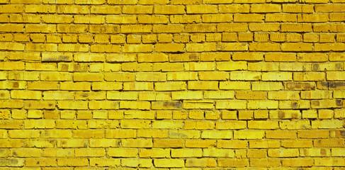 Yellow brick wall background, brick texture