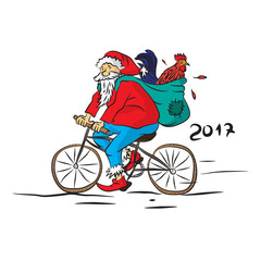 Санта на велосипеде с петухом вектор