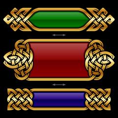 Vector celtic design frame set isolated on black background