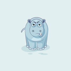 Hippopotamus sticker emoticon with angry emotion