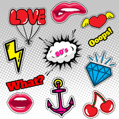 Fashion patch badges with hearts, and other elements. Vector illustration isolated on white background. Set of stickers, pins, patches in cartoon 80s-90s comic style.