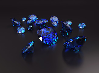 Blue diamonds placed on dark background 3d rendering.