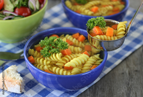 "bright delicious vegetable salad and pasta with vegetables"" Stock ..."