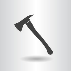 icon silhouette fire axe black isolated flat vector illustration