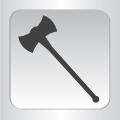 icon silhouette double axe isolated black flat vector illustration
