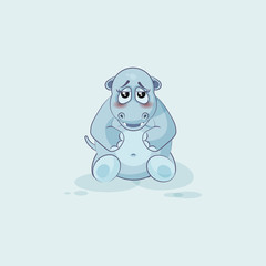 Emoji character cartoon Hippopotamus embarrassed