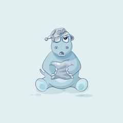 Emoji character cartoon sleepy Hippopotamus in nightcap with pillow