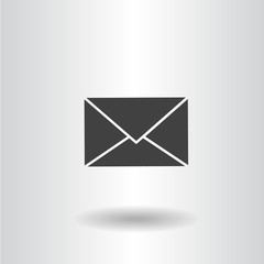 icon silhouette isolated envelope mail web black icon vector illustration