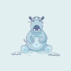 Emoji character cartoon Hippopotamus crying