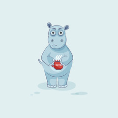Emoji character cartoon Hippopotamus nervous with cup of coffee