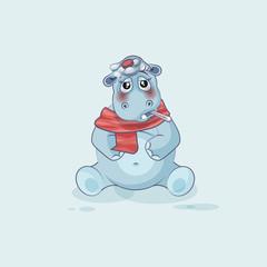 Emoji character cartoon Hippopotamus sick