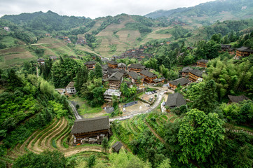 Lonjii rice terraces, Dazhai village, Aerial view, Guilin, China