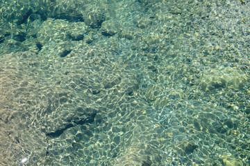 View of lake bottom through water