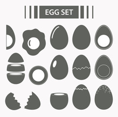 Egg set. Raw, Crack, Sliced, Broken, Fried, Boiled Eggs with yolks. Eggshell. Diet product with protein.