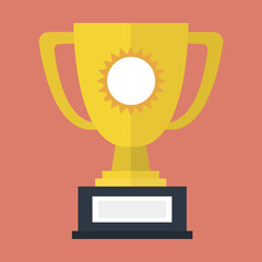 cup prize icon, flat design.