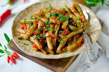 Stewed french bean with tomato on Lebanese