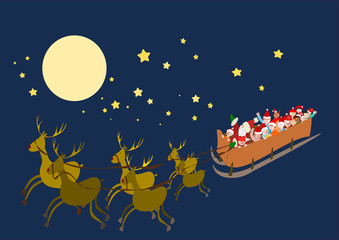 slitta volante con Babbo Natale e bambini