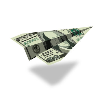 Aircraft dollars. Money banknote paper airplane. Financial illus