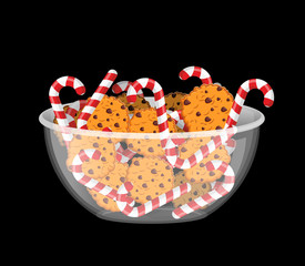 Peppermint Christmas candy and cookies in glass bowl. Cookie in