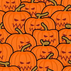 Pumpkin seamless pattern. Halloween background. Scary vegetable