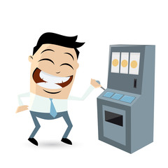 clipart of a slot machine playing man