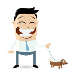 clipart of a man walking the dog