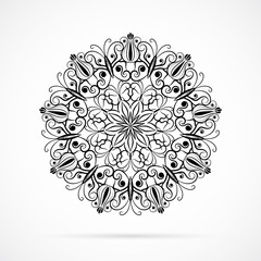 Vector Black Color Mandala over white