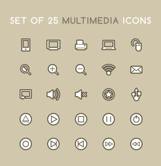 Set of Solid Multimedia Icons. Isolated Vector Icons.