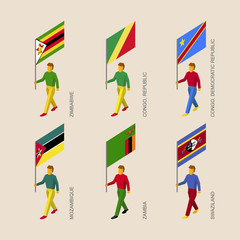 Set of 3d isometric people with flags of African countries. Standard bearers infographic -  Zimbabwe, Zambia, Mozambique, Swaziland, Congo Republic and Congo Democratic Republic.