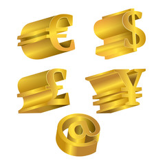 Set icons of gold coins. Currency dollar, euro, pound sterling a