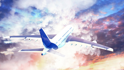 Passenger airplane in the clouds at sunset. travel by air transport. 3d render