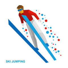 Winter sports - ski jumping. Cartoon skier in red and white during a jump. Flat style vector clip art isolated on white background