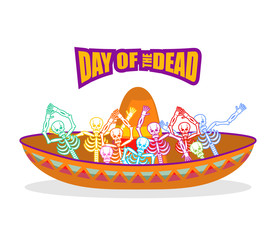 Day of the Dead skeletons and sombrero. Multi-colored skull in M