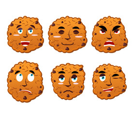 Cookies emotions set. Oatmeal cookie evil and good. Calm and agg