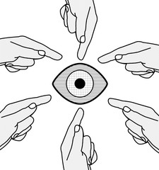 Mani che indicano un'occhio, puntare il dito contro una persona, denigrare, bullismo, razzismo