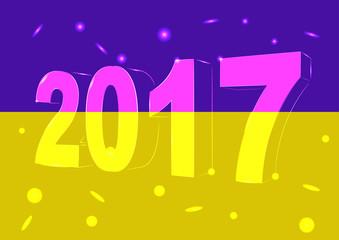 Новый 2017 год на фоне флага Украины
