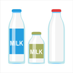 Glass or plastic bottle with milk or yogurt illustration. Flat design. Packaging for liquid product concept.