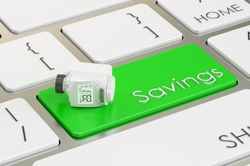 Energy saving concept, radiator modern thermostatic valve on the