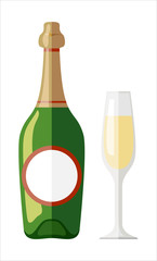 Vector illustration. Glass of champagne and bottle. Vector illustration