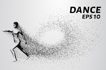 Dance of the particles. Girl dancing and consists of fine points that separates her from the wind. Vector illustration