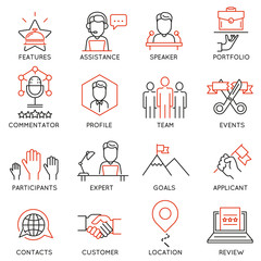 Vector set of 16 icons related to business management, strategy, career progress and business process. Mono line pictograms and infographics design elements - part 50