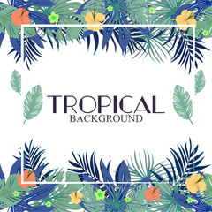 Tropic leaves background with frame for your text.