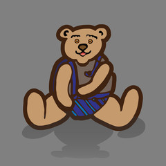 Children style drawing of teddy bear. Cute soft bear toy. Vector Illustration