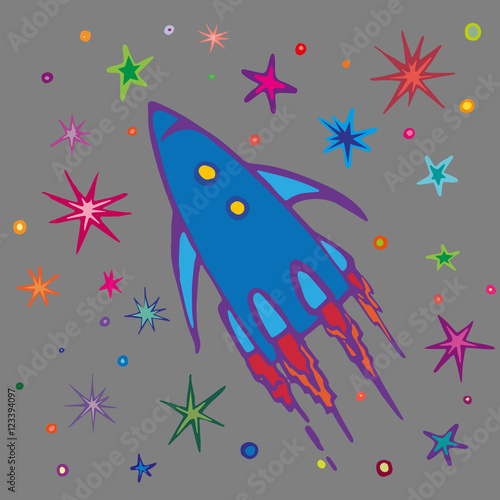 children style drawing of flying rocket spaceship or rocket in open space vector illustration. Black Bedroom Furniture Sets. Home Design Ideas