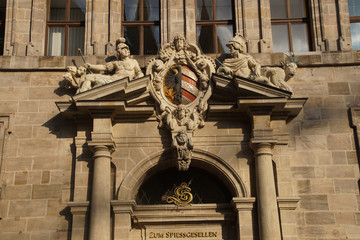 Coat of arms decorating town