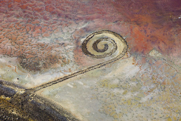 The Spiral Jetty near Promontory Point on the Great Salt Lake