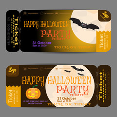Vector ticket to Halloween night party with moon on the gradient brown background.