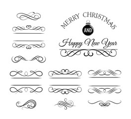 Christmas and New Year Greeting Card. Vintage and filigree decoration. Ornament frames and scroll swirls element. Filigree divider Calligraphic xmas curl and swirly line. christmas divider.